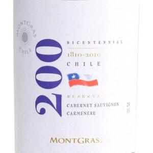 Montgras 200 Cabernet Sauvignon Reserva Chili etiket